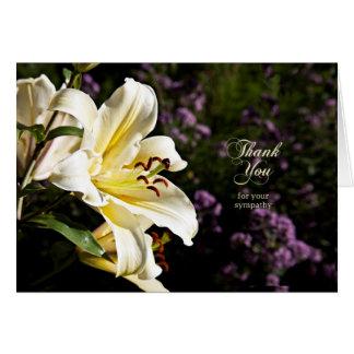 Cartão Obrigado para sua simpatia, com lírio branco