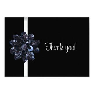 Cartão Obrigado Party o 40th fabuloso da flor preta do