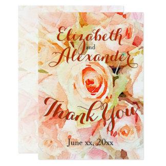 Cartão Obrigado Pastel da aguarela do pêssego você