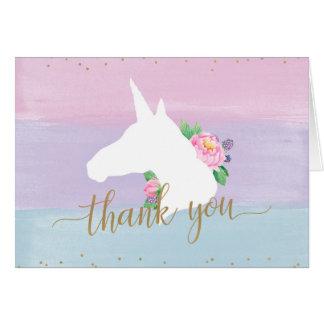 Cartão Obrigado Pastel do arco-íris do unicórnio você