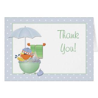 Cartão Obrigado pato do chá de fraldas