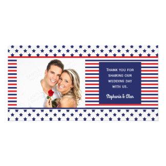 Cartão Obrigado patriótico do casamento do Dia da