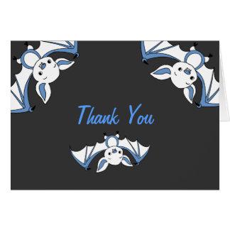 Cartão Obrigado pequeno azul do chá de fraldas do bastão