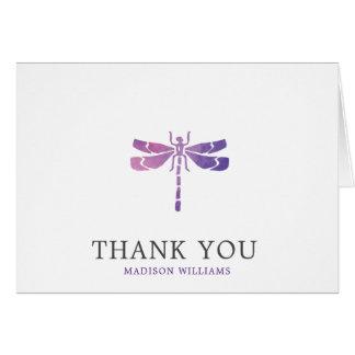 Cartão Obrigado personalizado da libélula da aguarela