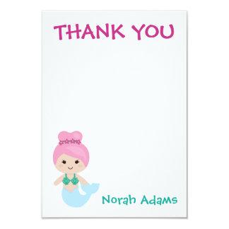 Cartão Obrigado personalizado da sereia partido bonito