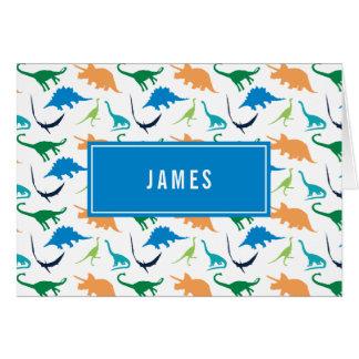 Cartão Obrigado personalizado do menino dinossauro formal