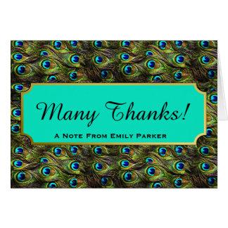 Cartão Obrigado personalizado do pavão penas chiques você