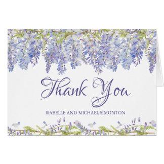 Cartão Obrigado personalizado floral da aguarela roxa