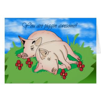 Cartão Obrigado piggin de dois porcos impressionante
