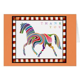Cartão Obrigado pônei colorido do cavalo com laranja da