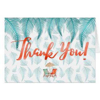 Cartão Obrigado praia & palmas da aguarela tropicais