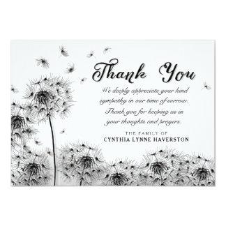 Cartão Obrigado preto & branco do dente-de-leão você