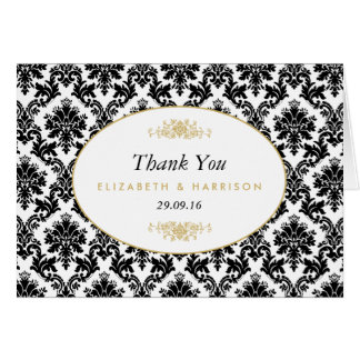 Cartão Obrigado preto & branco do ouro do vintage do