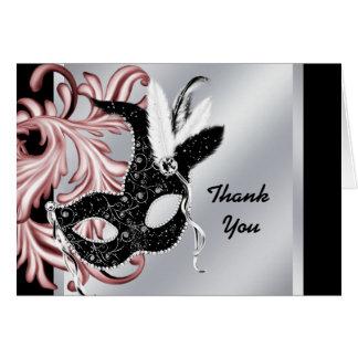 Cartão Obrigado preto cor-de-rosa do partido do mascarada