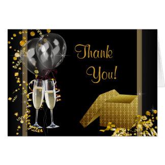 Cartão Obrigado preto da festa de aniversário do ouro