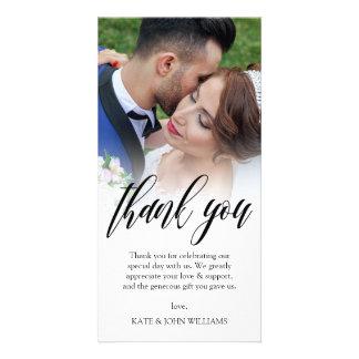 Cartão Obrigado preto da foto do casamento da folha de