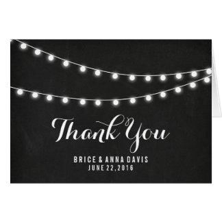 Cartão Obrigado preto da luz da corda do verão do quadro