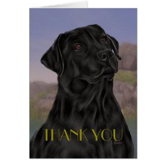 Cartão Obrigado preto de labrador retriever você