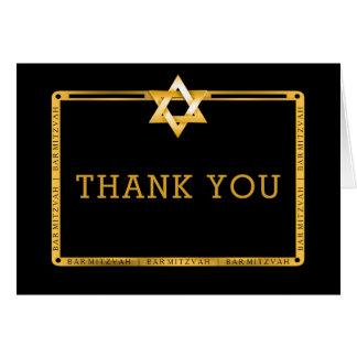 Cartão Obrigado preto de Mitzvah do bar da estrela de