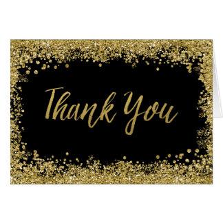 Cartão Obrigado preto do brilho do ouro do falso você