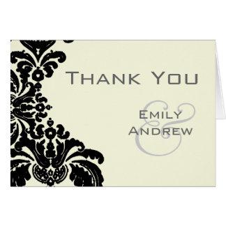 Cartão Obrigado preto do casamento tema damasco do