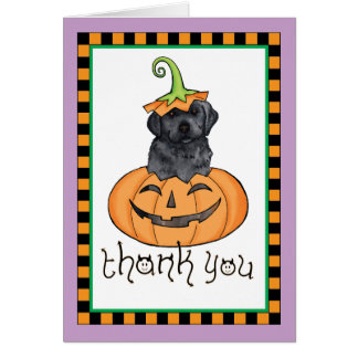 Cartão Obrigado preto do laboratório do Dia das Bruxas