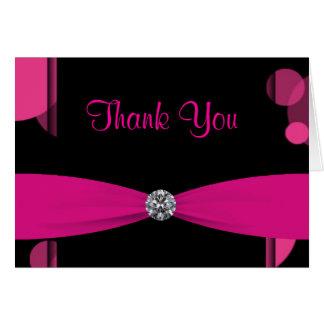 Cartão Obrigado preto do rosa quente das bolhas do rosa
