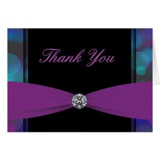 Cartão Obrigado preto do rosa quente das bolhas do roxo