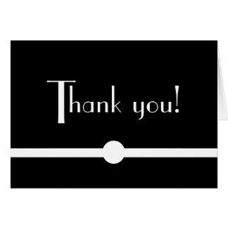 Cartão Obrigado preto e branco chique Noir do art deco