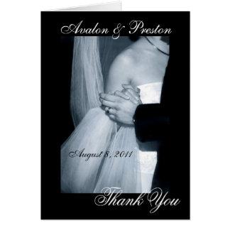 Cartão Obrigado preto e branco da dança do casamento você