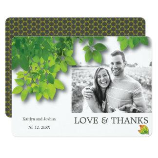 Cartão Obrigado preto e branco do casamento do carvalho