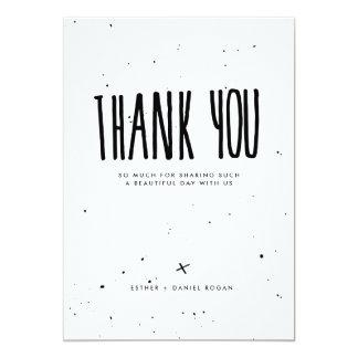 Cartão Obrigado preto e branco do Splatter da tipografia