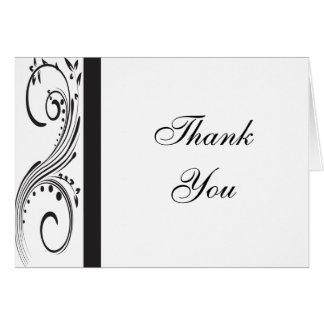 Cartão Obrigado preto e branco dos redemoinhos você