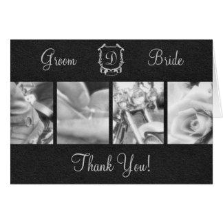 Cartão Obrigado preto e branco elegante do casamento do