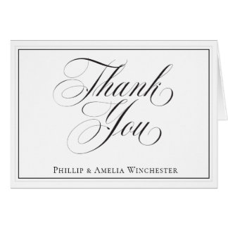 Cartão Obrigado preto e branco elegante do casamento você