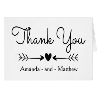 Cartão Obrigado preto e branco você setas do coração & de