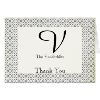 Cartão Obrigado preto e de creme do vintage de diamante