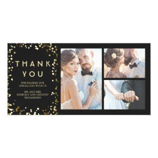 Cartão Obrigado preto elegante do casamento dos confetes