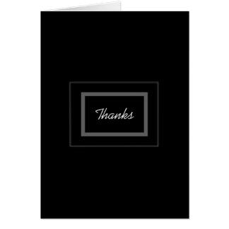Cartão Obrigado preto liso do casamento do padrinho de