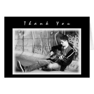 Cartão Obrigado preto moderno da foto dos meninos você