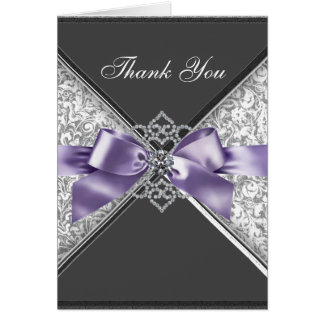 Cartão Obrigado preto roxo do damasco dos diamantes você