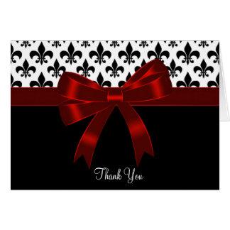 Cartão Obrigado preto vermelho da flor de lis você