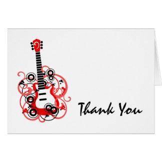 Cartão Obrigado preto vermelho da guitarra da estrela do