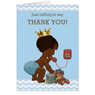 Cartão Obrigado príncipe étnico no chá de fraldas do
