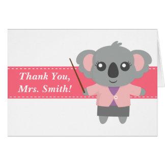 Cartão Obrigado professor, urso de Koala bonito,