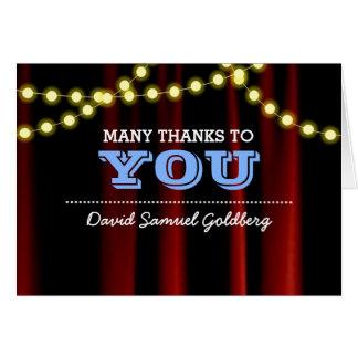 Cartão Obrigado que azul de Mitzvah do bar das luzes do