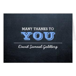 Cartão Obrigado que azul de Mitzvah do bar do quadro você