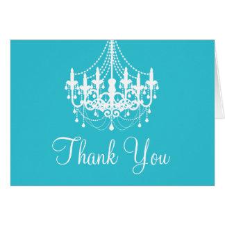 Cartão Obrigado que azul e branco da cerceta do