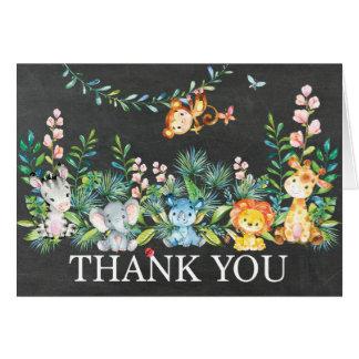 Cartão Obrigado que bonito do chá de fraldas da selva do