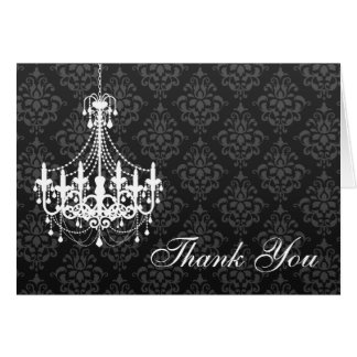 Cartão Obrigado que branco do damasco do preto do
